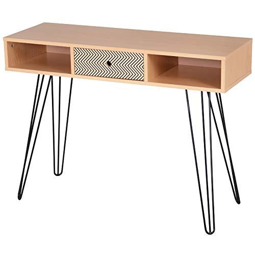 Homcom Table d'appoint Console Design scandinave Graphique dim. 100L x 35l x 75H cm 2 niches tiroir Pieds effilés Acier Noir Panneaux Particules chêne