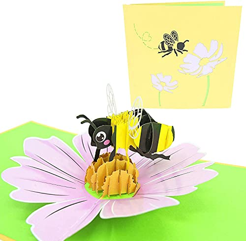 PopLife Honey Bee 3D Pop Up Mother's Day Card - Gardener's Birthday, Happy Anniversary Gift, Valentine's Day, Congratulations, Get Well Soon - for Wife, Mom, Grandma, Friend, Daughter, Sister
