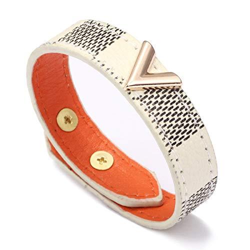 XUEKE Charmsmic nuevas pulseras de cuero a rayas para mujeres hombres pulseras de urdimbre y brazaletes oro metal botón fiesta joyería regalos CB117-blanco-25.5cm