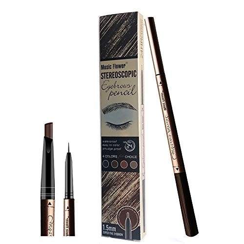 New Era Eyebrow Tattoo Pen pour les yeux Crayon de maquillage avec - 24 heures de maculage étanche longue durée (Marron foncé)
