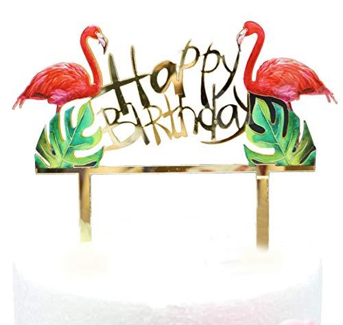 """Sonsmer Flamingos """"Happy Birthday""""-Kuchendekoration, Acryl-Flamingos für Geburtstag, glitzernd, zum ersten Geburtstag, Cupcake-Topper, Kerzenalternative, Partyzubehör"""