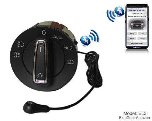 EL3 Auto Lichtsensor Bluetooth App Lichtschalter, KFZ Scheinwerferschalter Hauptlichtschalter Nebelscheinwerfer, Coming Leaving Home Modul – Golf 7, Polo 6C, Seat Leon, Octavia 3, Superb B8