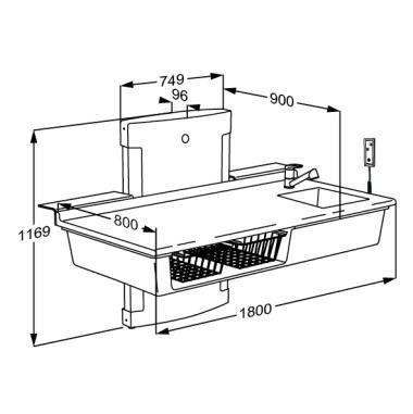 Pressalit R8685000 Wickel-Tisch mit sanitären Aritkeln, Waschbecken, Armatur, elektrisch höhen-verstellbar für Senioren, behindertengerecht, wandhängend (Abmessungen: 80 x 180 cm)