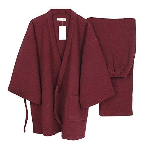 Fancy Pumpkin Plus épais Hommes Stil japonais Roben lâche Hiver Chaud Kimono Pyjamas kostüm [Taille L vin Rouge]