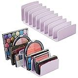 mDesign Juego de 2 organizadores de Maquillaje de plástico sin BPA – Bandeja de Maquillaje con 9 Compartimentos Verticales – Organizador de cosméticos para Lavabo, tocador o Armario – Lila Claro