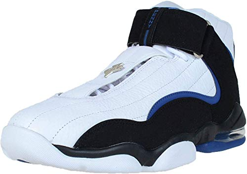 Nike Air Penny IV Scarpe Uomo Alte da Basket 864018 Scarpe da Tennis - Bianco/Nero/Atlantic Blu, 7 M UK