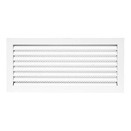 Rejilla de ventilación galvanizada para exteriores de 50 x 20 cm a prueba de clima – rejilla de ventilación blanca con pantalla de malla – HVAC