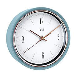 hito Silent Non Ticking Wall Clock Glass Front Cover Accurate Sweep Movement 9 inch Decorative for Kitchen, Living Room, Bedroom, Office, Classroom (Bright Blue)
