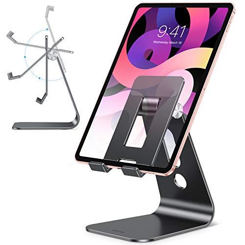 OMOTON Supporto per Tablet, Porta Tablet Regolabile da Tavolo[Aggiornato], Dock, Stand Design cavità per iPad PRO 10.5, PRO 12.9, iPad Mini 2 3 4, Air, iPhone, Samsung Tab, Base Grande, Grafite Nero