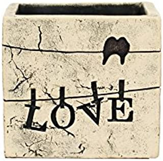"""Hosley 5.5"""" Square Love Ceramic Flower Pot/Planter for Dried Floral Arrangements and Greenery. Ideal Gift for Weddings, Pa..."""