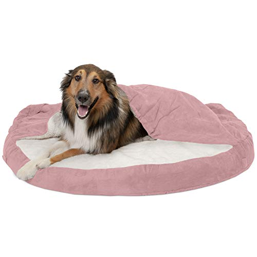 Furhaven Haustier-Hundebett, kühlendes Gel-Memory-Schaum, orthopädisches rundes Kuschelnest, Kunstfell-Decke, Haustierbett mit abnehmbarem Bezug für Hunde und Katzen, rosa, 112 cm