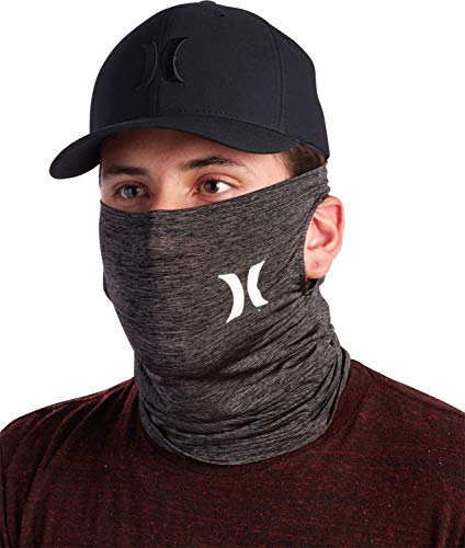 Hurley Breathable Neck Gaiter Face Mask with Ear Loops, Size Medium, Dark Grey