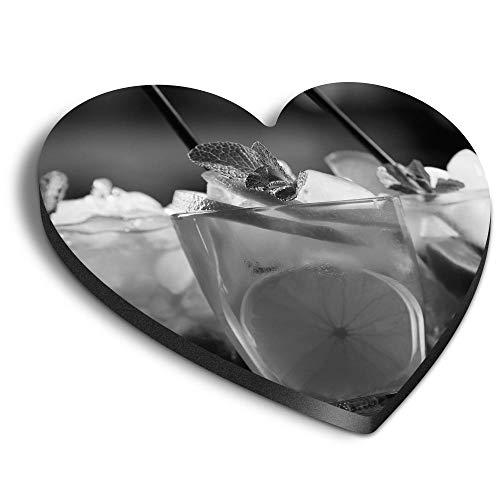Destination Vinyl ltd Imán de MDF con forma de corazón BW - Cócteles frutales Bebidas Bebidas Alcohol para Oficina, Armario y Pizarra Blanca, Pegatinas Magnéticas 41388