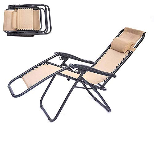 Silla reclinable ajustable Silla plegable de gravedad cero, Lounge Lounge Silla con almohada - Puede soportar 380 libras,Blue