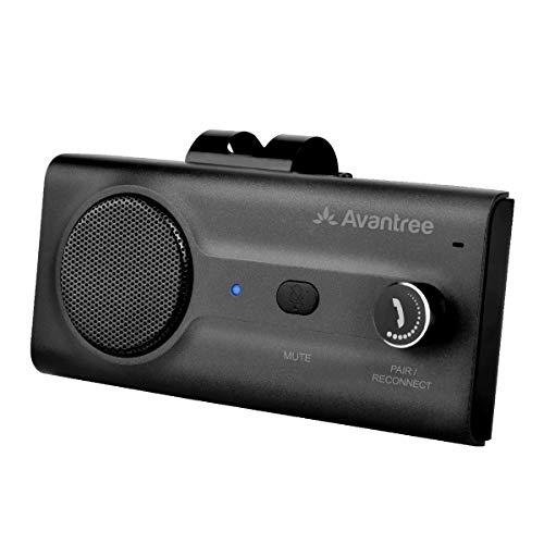 Avantree CK11 Kit Bluetooth Manos Libres para Coche, Altavoz Fuerte, Conecta con Siri, Google Asistente, Movimiento Automático Activado, Botón de Volumen, Manos Libres Inalámbrico para Visera - Negro