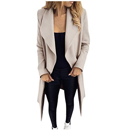 Damen Einfarbig Wollmantel Outwear Revers Mantel Frauen Mittellanger Mantel mit Tasche Elegant Schlank Mantel Damen Winter Dicke Warme Jacke