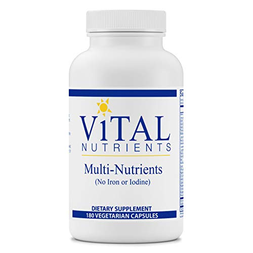 Vital Nutrients - Multi-Nutrients (No Iron or Iodine) - Comprehensive Daily Multi-Vitamin/Mineral Formula with Potent Antioxidants for Women and Men - 180 Vegetarian Capsules per Bottle