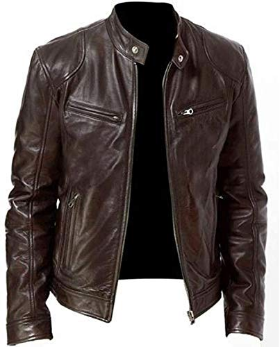 ENFLEEF Coat for Men Vintage Cool Jacket Leather Long Sleeve Autumn Winter Stand Collar Club Solid Color Coat(S-5XL)