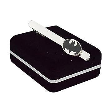Welen Men s Tie Bar Clip Clasp Personalized Engraving Suit Shirt Wedding Gift  Batman Black