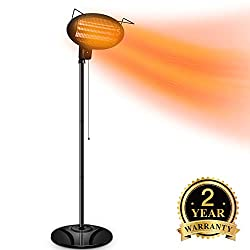 Outdoor Patio Heater - 1500W Patio Heater?Electric Outdoor Heater,Infrared Heater,Outdoor Patio Heater Electric,w/3 Power Levels Remote Control,Tip-Over Shut Off,LED display,Weatherproof,Garage,Garden