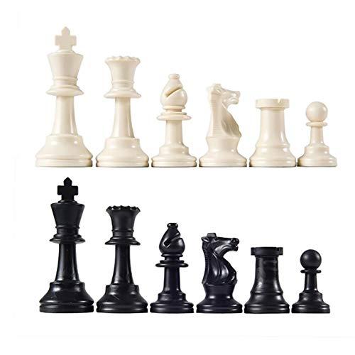 CoURTerzsl 32pcs/Ensemble de Noir et Blanc Plastique médiéval pièces d'échecs Jeu Chessmen Jeu 65/75/95mm, 1 Couleur, 65mm
