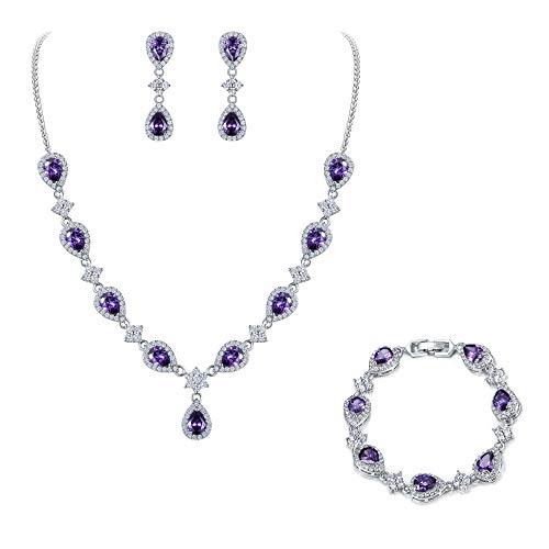 EleQueen Women's Silver-Tone Cubic Zirconia Teardrop Flower Bridal V-Necklace Sets Tennis Bracelet Dangle Earrings Amethyst Color