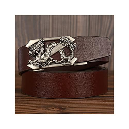 GHRFZC Fashion Men Cinturón De Negocios Hollow out Flying Dragon Retro Reloj Automático Buckle Personalidad De Cinturón Casual Simple Tejido Casual Cinturón Jeans Cintura, Cinturón Marrón Hebilla P