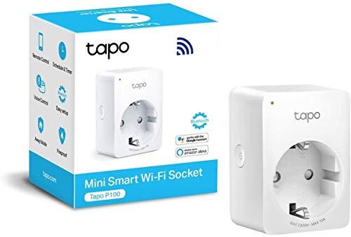 TP-Link Tapo Smart Wifi Plug, Diseño compacto, No se requiere Hub, Compatible con Google Home/Amazon Alexa, Control remoto, (Tapo P100), Blanco