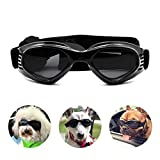 Petleso Pet Goggles , Stylish Dog Sunglasses for UV Stop Waterproof Windproof Anti-fog Eye Protection - Black