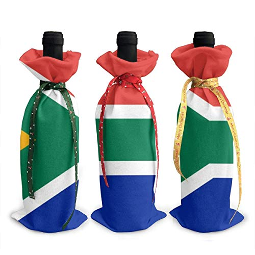 3 fundas para botellas de vino con bandera de Sudáfrica para decoración