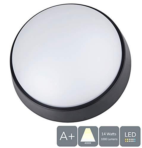 Aurollite 14 W LED Schotse lamp 4000 K, 1000 lumen, IP54, ideaal voor veranda, tuin, paden, schuur, werkplaats, terras en garage (cirkelvormig), wit
