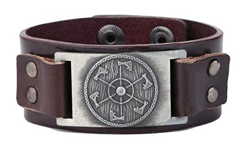Talisman Pulsera ajustable Perun de cruz eslava hacha pulsera de cuero para hombre (plata envejecida, marrón)