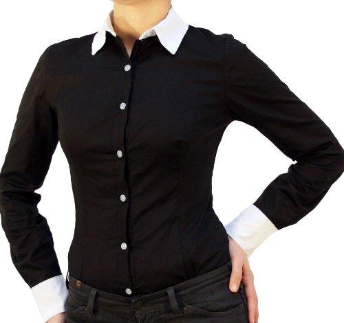 Perano 9222 Damen Bodys Blusen Bodybluse Blusenbody Farbe Schwarzweiß Konfektionsgröße 38 Internationale Größe M schwarzweiß M/38