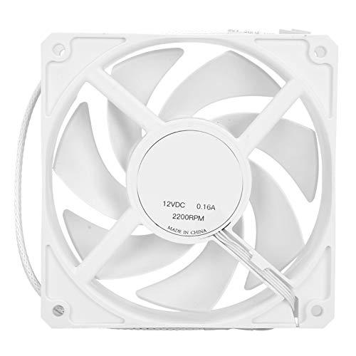 Ventilador de chasis F120-A, Alto Volumen de Aire Ventilador de enfriamiento de computadora de bajo Ruido, Ventilador de levitación magnética enfriado,para Ventilador enfriado por Agua(Blanco)