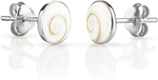 Women's 925 Sterling Silver White Shiva Eye Shell Stud Earrings, 8.9mm
