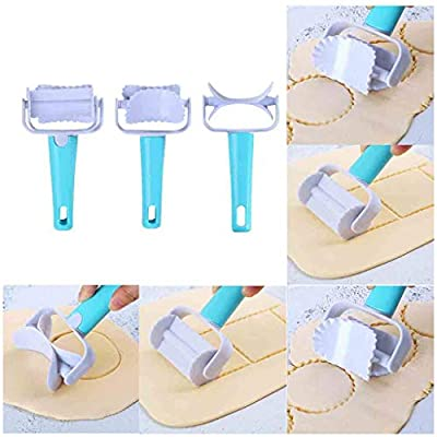 Set of 3 Baking Rolling Pastry Cutter - Plastic Dough Rolling Cutter for all Pastry Cookie Biscuit Dumpling Ravioli Pierogi Maker (Blue)