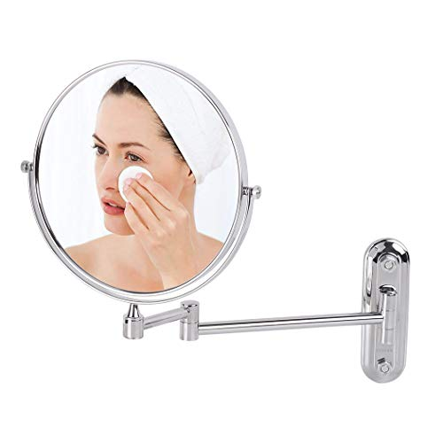 LUVODI LED Wall Mounted Makeup Mirror with 5X Magnification, 8 Inch Double -