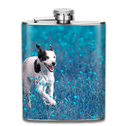 Flachmann,Edelstahl-Flachmann Running Blue Dog Fashion Portable 304 Stainless Steel Leak-Proof Alcohol Whiskey Liquor Wine 7OZ Pot Hip Flask Travel Camping Flagon for Man Woman Flask Great Little Gif