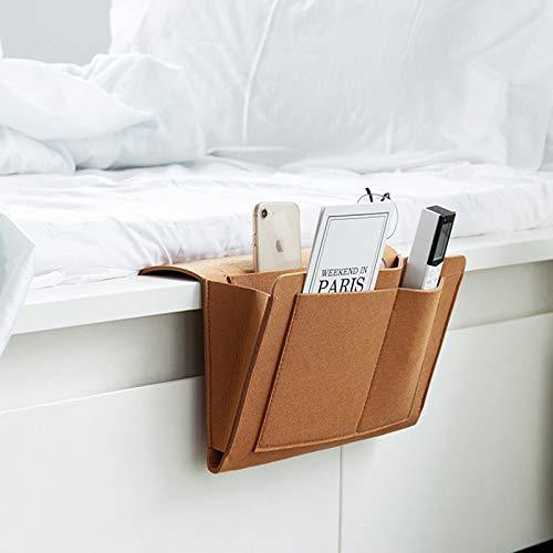 JIEHED Bedside Pocket, Bedside Felt Storage Bag with Pockets Bed Sofa Desk Hanging Organizer, Magazine Phone Tablet Tissue Holder, Convenient Open Bag for Bedroom, Living Room, Dorm Room, Sofa, Desk
