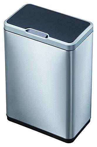 Recycle Mirage   Cubo de basura (2 x 20 L, metal, mate, S/S, 27 x 46 x 65,5 cm)