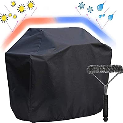 """UKEER BBQ Gas Grill Cover, 57-Inch Waterproof Heavy Duty Barbecue Cover Anti-UV Outdoor with Barbecue Cleaning Brush (L:57"""" W: 24"""" H:46"""") for Weber, Brinkmann, Char Broil etc"""