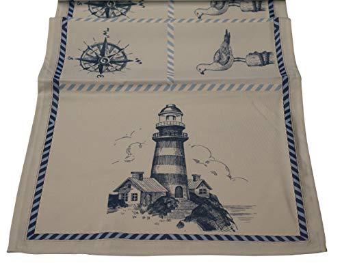 khevga - Runner da tavolo in stile marittimo, blu, bianco, mare, 40 x 150 cm (azzurro)