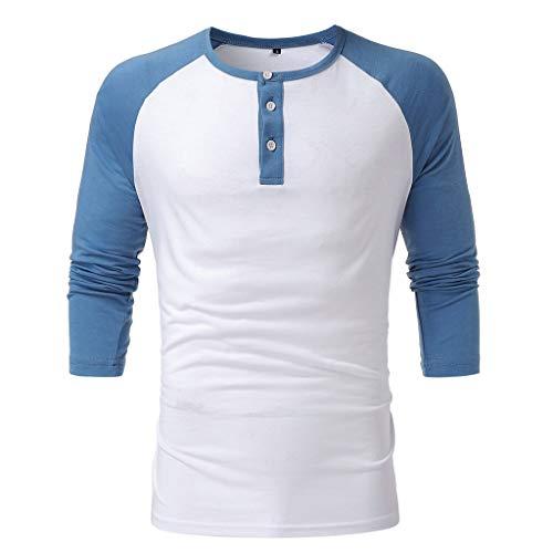DNOQN Herren Slim Fit Lässige Patchwork Knopf 3/4 Ärmel O-Neck T-Shirt Top Bluse Herren Freizeit Herbst Poloshirt T Shirt Lang Blau XXXL