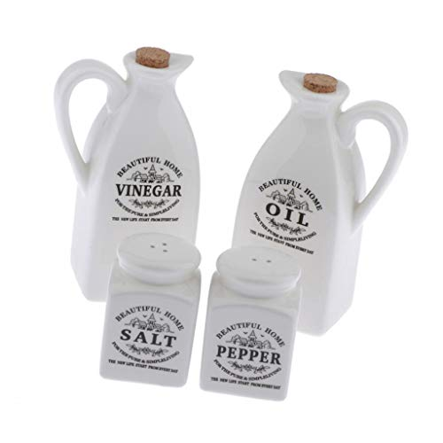PETSOLA 1 Satz Weiß Ölflasche Keramik Olivenölflasche Porzellan Essigflasche mit Gewürzmühle Set