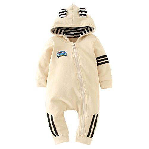 Vine Trading Co.,Ltd Baby Jungen Overalls Kleinkind Strampler - Säugling Jumpsuits mit Kapuze Outfits Langarm Reißverschluss Kleidung, Beige 3-6 Monate