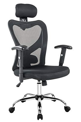 Preisvergleich Produktbild SalesFever Bürostuhl TRES in Schwarz / höhenverstellbar / atmungsaktiver Netz-Rücken / Mesh-Bezug / Gestell Chrom / Rückenlehne mit Lordosenstütze