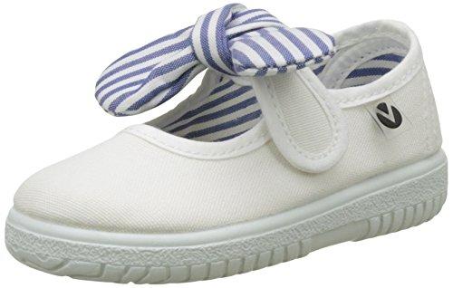 Victoria Mercedes Lona Pañuelo, Zapatos de primeros pasos para Bebé-Niñas, Blanco, 23...