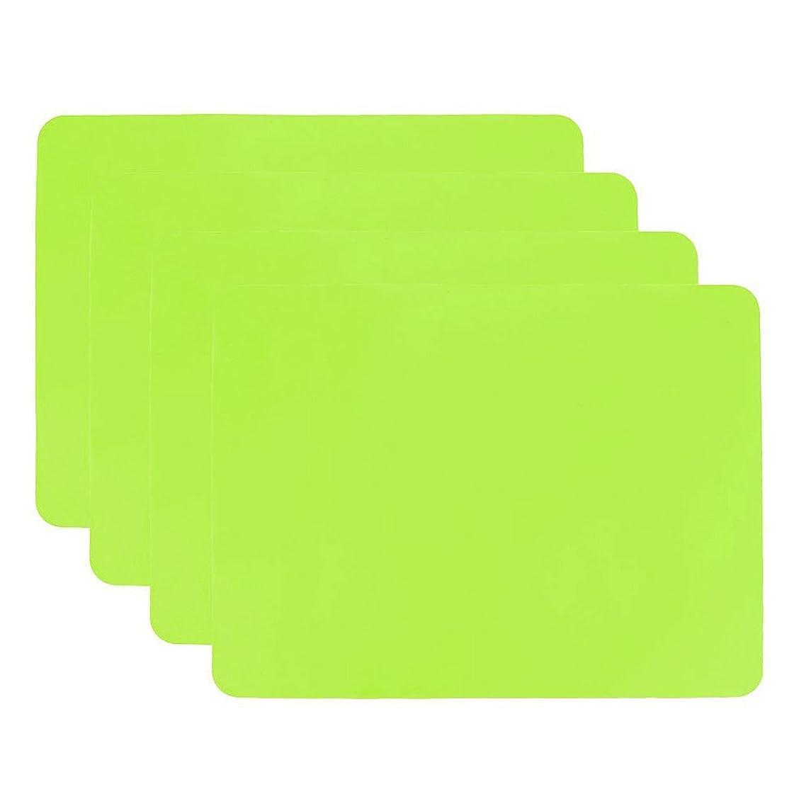 盆汗辞任するシリコン、プレースマットSilicone Baking Mat Non Stick haranges耐熱マット再利用可能なテーブルマットKids Mealプレースマット、ノンスリップ防水柔軟なシリコンマットのセット4?( 15.8?× 11.9?× 0.03インチ) グリーン Haranges-placemat-003