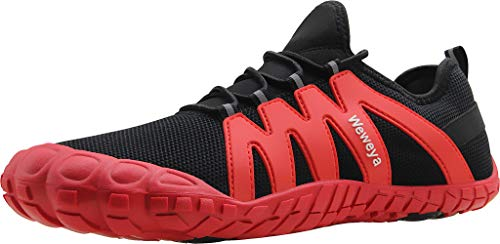 Weweya Barefoot Shoes Men Minimalist Running Cross Training Shoe Size 9.5 Black Red