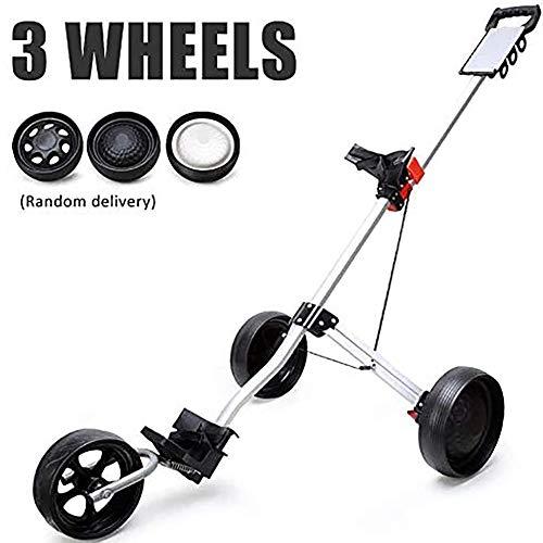 3 Roues Push/Pull Chariot de Golf, Golf Chariots de Golf Pousser en Alliage d'aluminium Chariot Pliable Accessoires Facile Carry et Fold